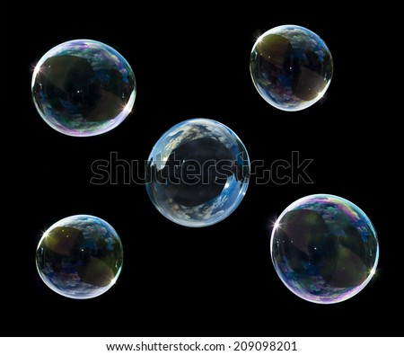 soup bubbles isolated on black background - stock photo