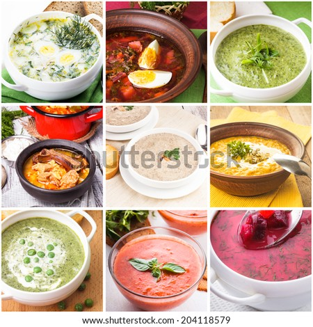 Soup collage from nine photos of different soups - stock photo