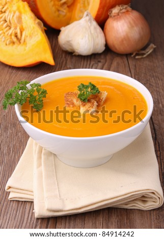 soup, crouton and parley - stock photo