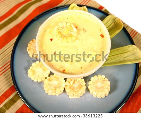 Soup from paraguay with white corn - stock photo