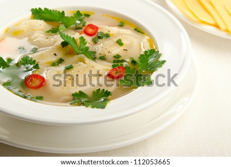 soup in a white plate - stock photo