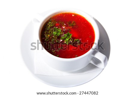 soup in white isolated on white background