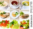 soup, meat, salad and other food - stock photo
