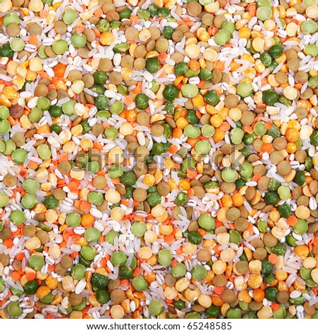 Soup mix from yellow and green peas, lentil, rice and pearl barley can use as background - stock photo