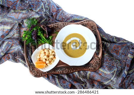 Soup of green lentils - stock photo