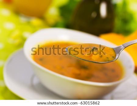 Soup of Pumpkin - stock photo