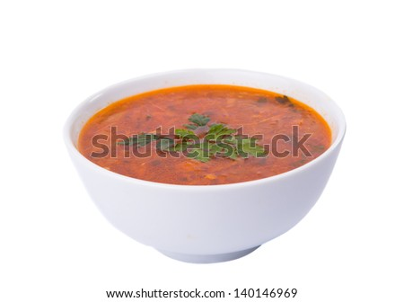 soup plate isolated on white background - stock photo