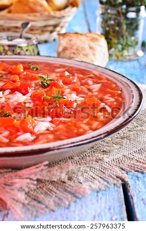 Soup red with rice, vegetables and thyme - stock photo