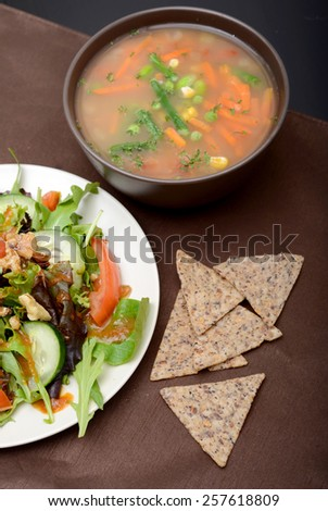 soup, salad and chips in winter