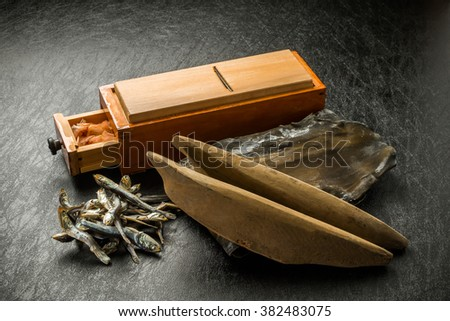 Soup stock of dried bonito kombu dried small sardines Japan - stock photo