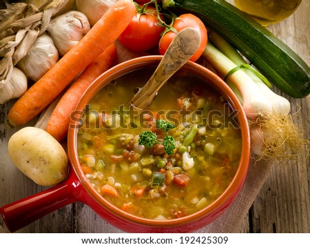 soup vegetable-minestrone - stock photo