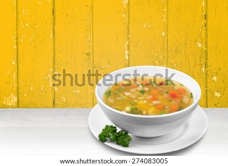 Soup, Vegetable Soup, Bowl. - stock photo
