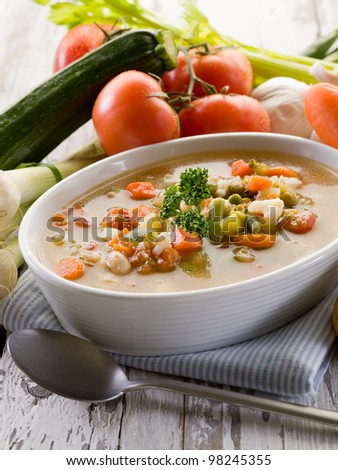 soup vegetable with ingredients - stock photo