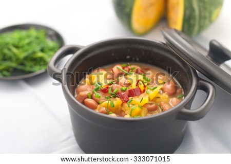 Soup with beans and squash with chilli powder, italy - stock photo