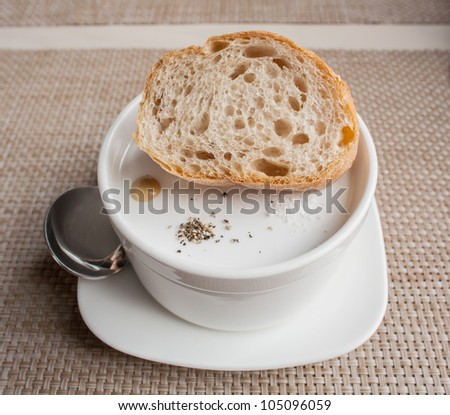 soup with bread - stock photo