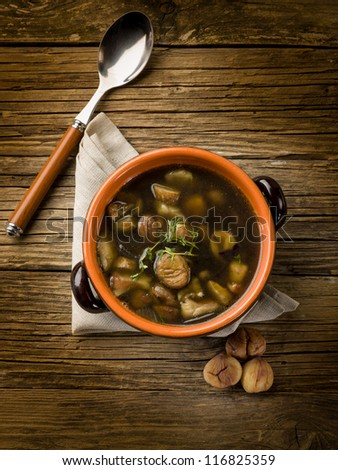 soup with chestnut and mushrooms - stock photo