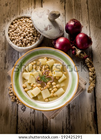 soup with  chickpeas and pasta - stock photo