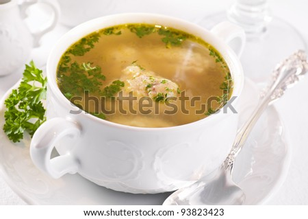 soup with fish dumplings