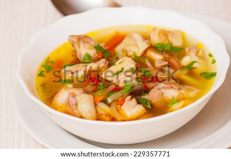soup with meat and vegetables - stock photo