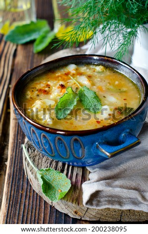 Soup with millet and vegetables - stock photo