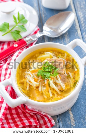 Soup with pasta - stock photo
