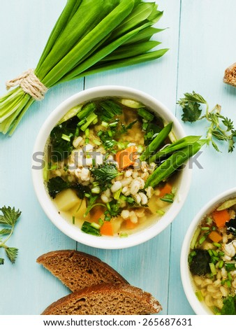 Soup with pearl barley, nettle, carrot and leek. Shallow dof. - stock photo