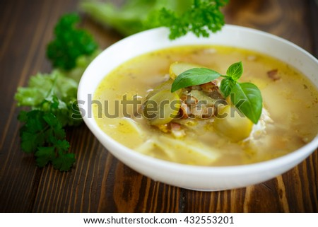 soup with pickled cucumbers - stock photo