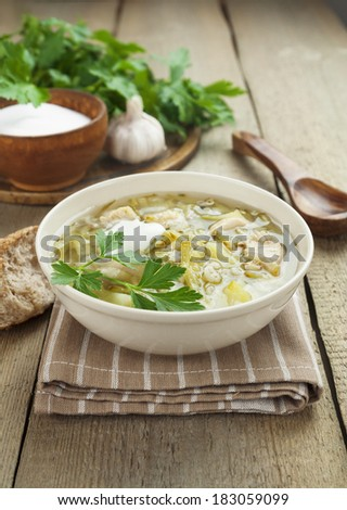 Soup with pickles and barley. Rassolnik - Russian traditional dish