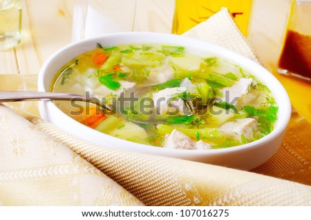 soup with potato and meat - stock photo