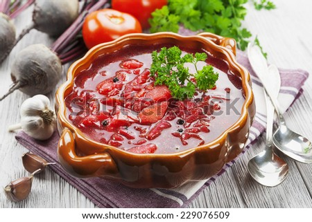 Soup with red beets. Russian traditional dish. Borsch - stock photo