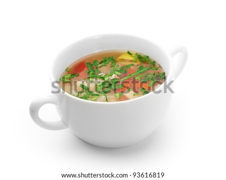 Soup with Seafood and Lemon and Herbs - stock photo