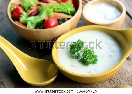 soup with vegetable salad