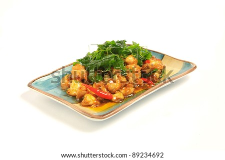Sour and sweet stir fried shrimp with Paprika - stock photo