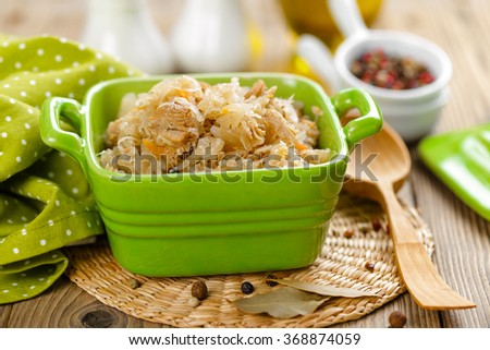 sour cabbage with meat - stock photo