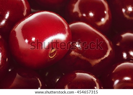 Sour cherries. Close-up view. - stock photo