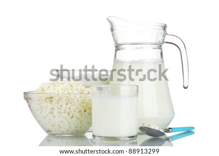 Sour cream, cottage cheese and milk isolated on white