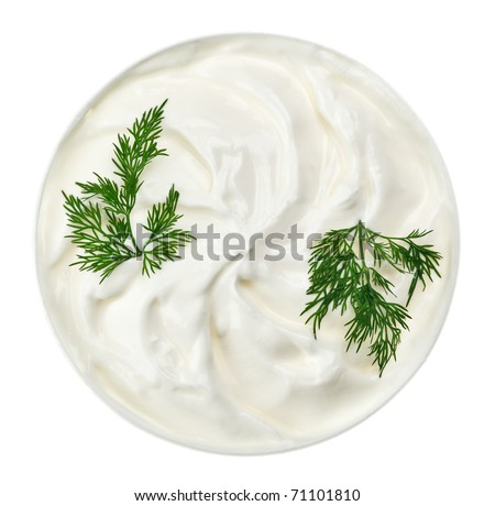 Sour cream in small round plate with dill twig, isolated on white - stock photo