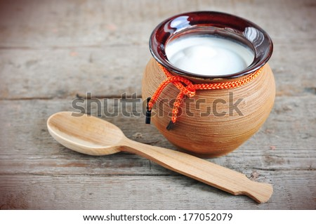 Sour cream or yogurt  - stock photo