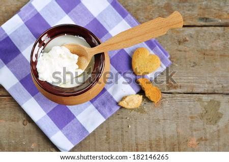 Sour cream or yogurt  - stock photo