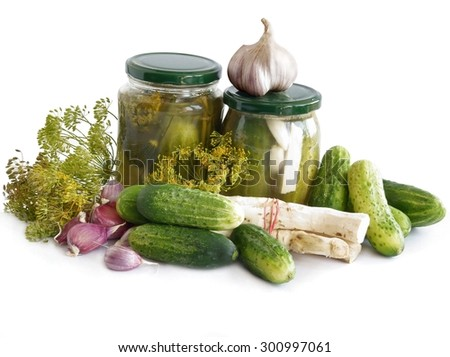 sour cucumber with condiment and herb as preserve - stock photo