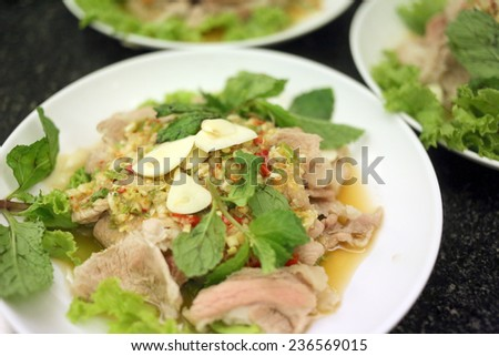 Sour Pork Salad is the local cuisine of Thailand.