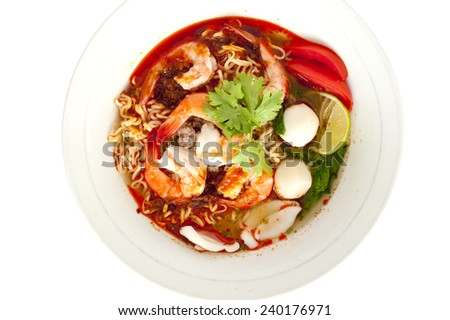 Sour prawn soup(Tom yum khoong) with noodles isolated on white background - stock photo