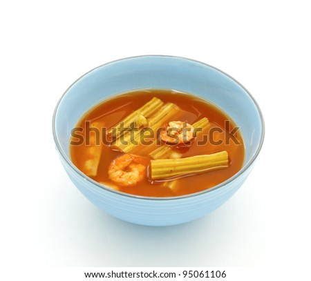 Sour soup made of tamarind paste with shrimp and Moringa - stock photo