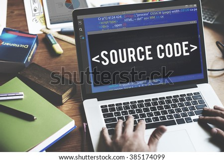 Source Code Data Javascript Computer Language Concept - stock photo