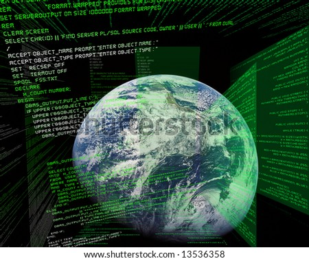 Source Code in front of world map - stock photo