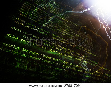 Source code technology background with various colors - stock photo