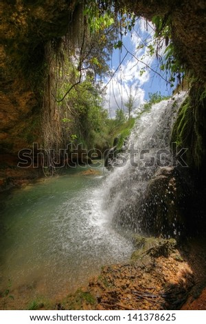 Source of Vinalopo river  in Alicante; Spain. HDR. High Dynamic Range images series. - stock photo