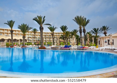 SOUSSE,TUNISIA - JUNE 30,2016: the hotel Grounds with a swimming pool.
