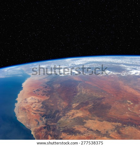 South Africa and Namibia from space with stars above. Elements of this image furnished by NASA.  - stock photo