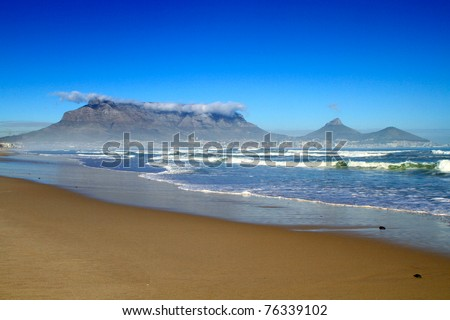 South Africa Cape town table mountain beach view - stock photo